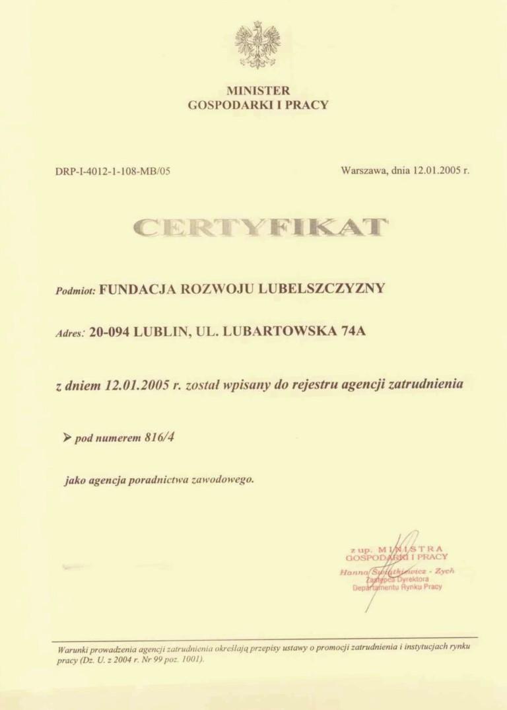 2005_01_12_Certyfikat_wpisania_do_rejestru_agencji_zatrudnienia