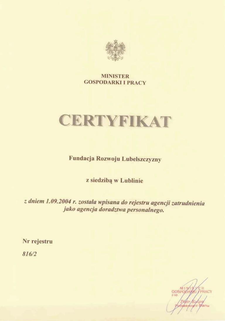 2004_09_01_Certyfikat_wpisu_do_rejestru_jako_agencja_doradztwa_personalnego